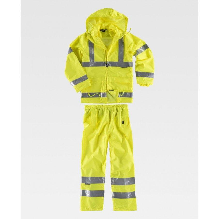 set alta visibilità pantalone + giacca impermeabile